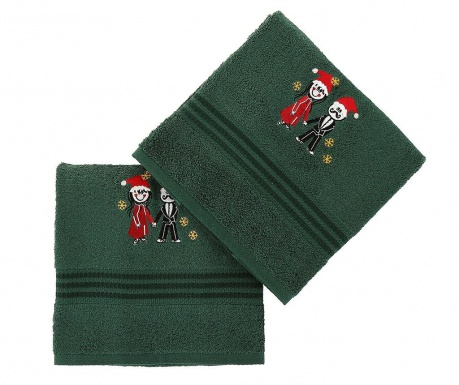 Set 2 prosoape de baie Christmas Couple Green