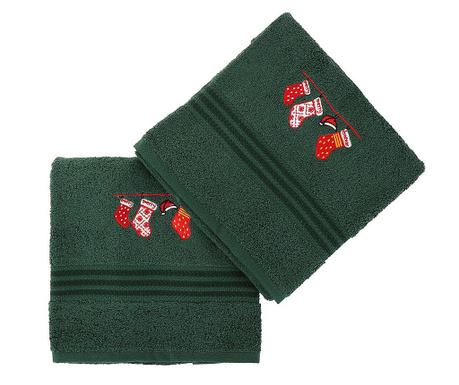 Christmas Gifts Green 2 db Fürdőszobai törölköző 50x90 cm