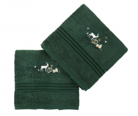 Set 2 kupaonska ručnika Christmas Reindeer Green 50x90 cm