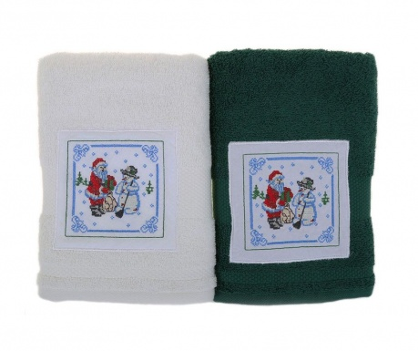 Set 2 prosoape de baie Santa and Snowman White and Green 50x100 cm