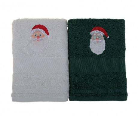 Set 2 prosoape de baie Father Noel White and Green 50x100 cm