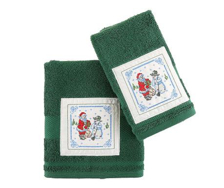Santa and Snowman Green 2 db Fürdőszobai törölköző