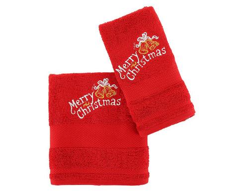 Christmas Bells Red 2 db Fürdőszobai törölköző