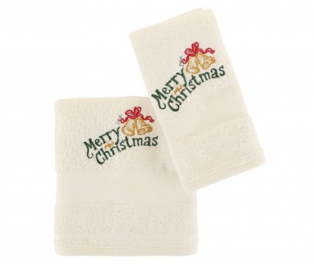 Set 2 kopalniških brisač Christmas Bells White