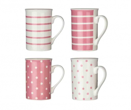 Set of 4 mugs Dots & Lines Pale Pink 270 ml