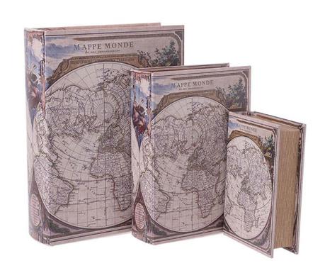 Set 3 cutii tip carte Monde