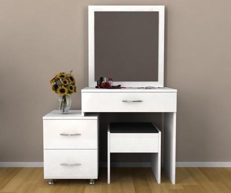 Sada toaletní stolek se zrcadlem a taburet Nice White