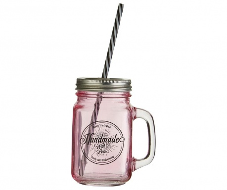 Skodelica s pokrovom in slamico Cocktail Pink 450 ml