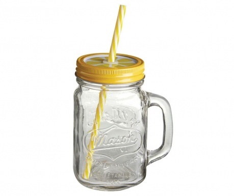 Mug with cover and straw Mason Lemon 450 ml