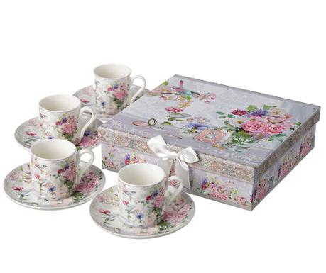Сервиз 4 чашки и 4 чинийки Delicate Rose