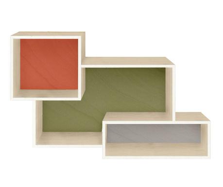 Element s policama Rhonda Red Green Grey