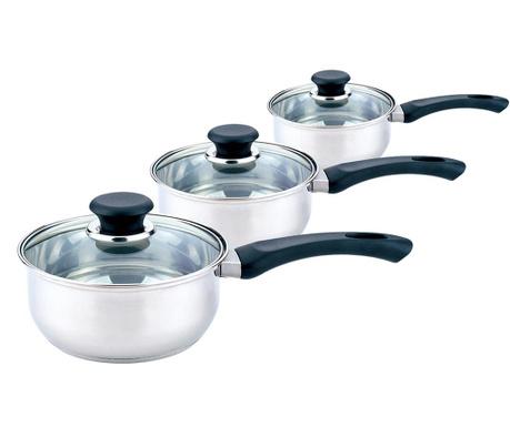 Set 3 posude za kuhanje s poklopcem Grey Style