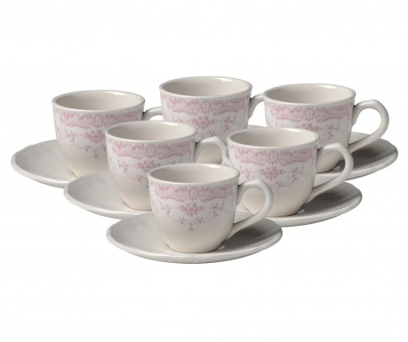 Set 6 cesti si 6 farfurioare Roccoco Morning Pink
