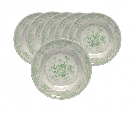 Сервиз 6 дълбоки чинии Rosen Garden Green