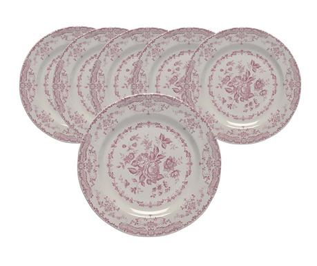 Set 6 plitkih tanjura Rosen Garden Pink