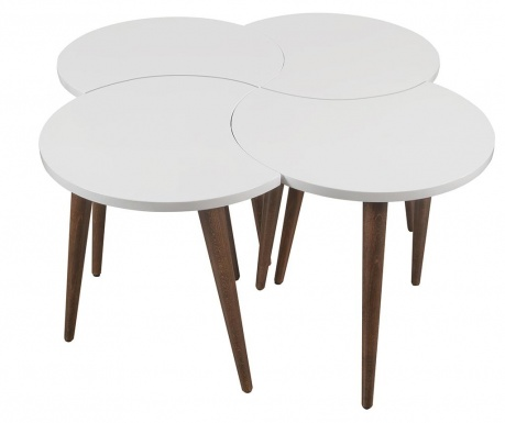 Oval White 4 db Asztalka