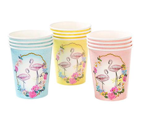 Комплект 12 чаши за еднократна употреба Flamingo Designs 210 мл