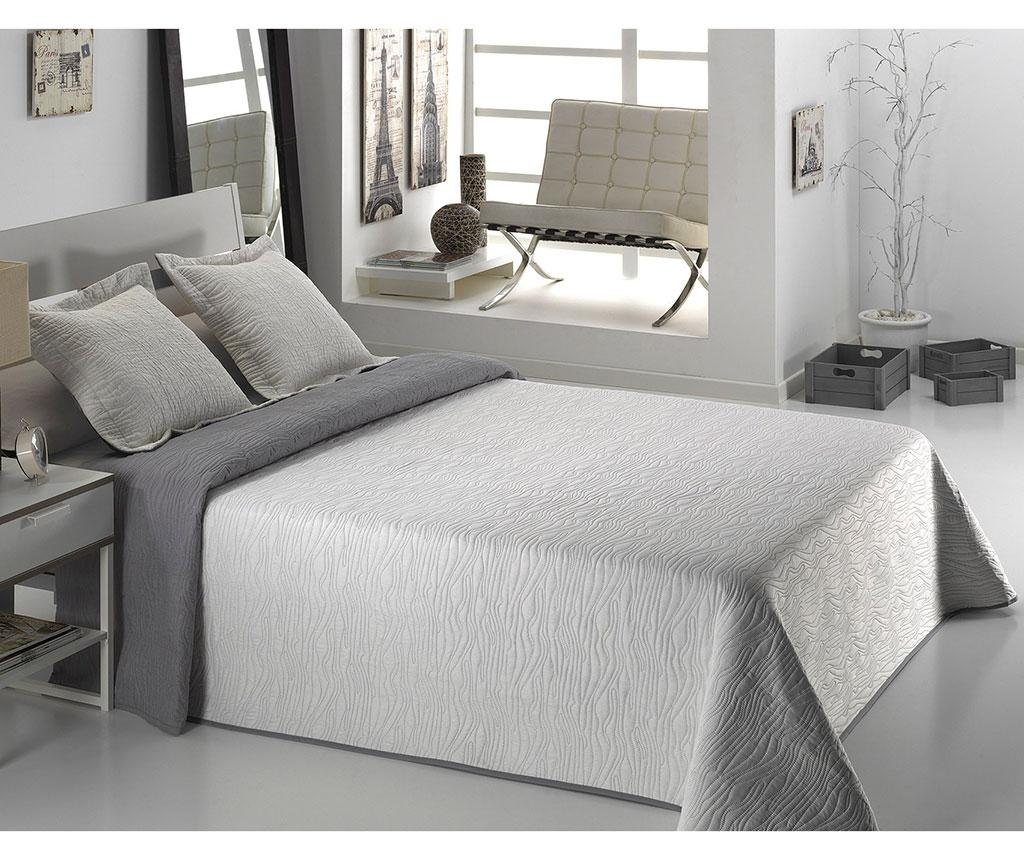 Set s prešitim posteljnim pregrinjalom Double Alma Flower Grey