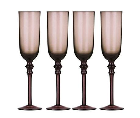 Сервиз 4 чаши за шампанско Tessa Purple 200 мл