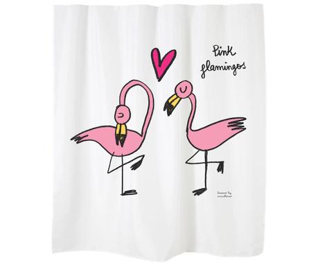 Perdea de dus Flamingos on White 180x200 cm
