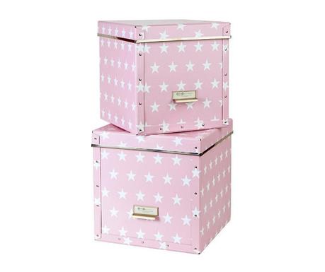 Set 2 cutii cu capac pentru depozitare Assar Pink