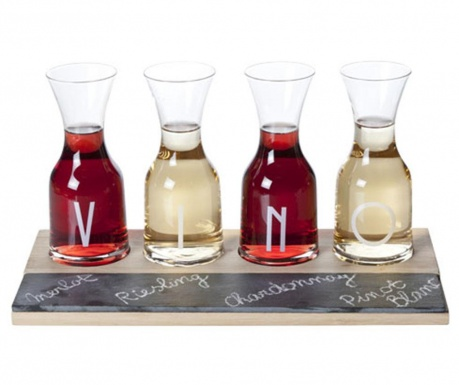 Sada 4 pohárov s podnosom Vino
