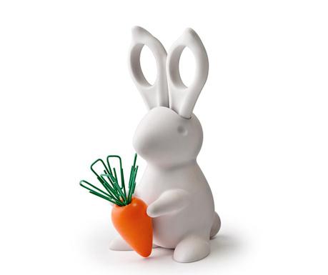 Set foarfeca cu suport si agrafe de birou Bunny White