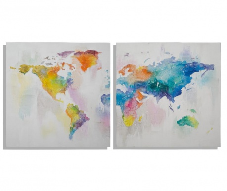 Set 2 tablouri Mad World 100x100 cm