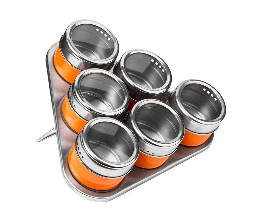 Set 6 posuda za začine sa poklopcem i držač Cute Orange