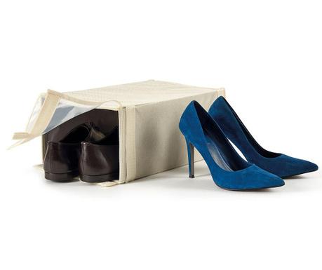 Škatla za shranjevanje čevljev Ecru Velcro