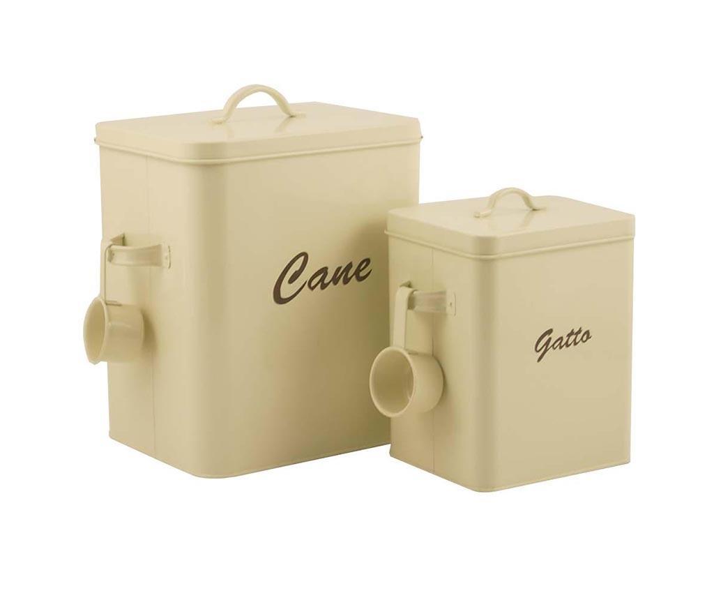 Set 2 škatel s pokrovom za hrano hišnih ljubljenčkov Dog & Cat