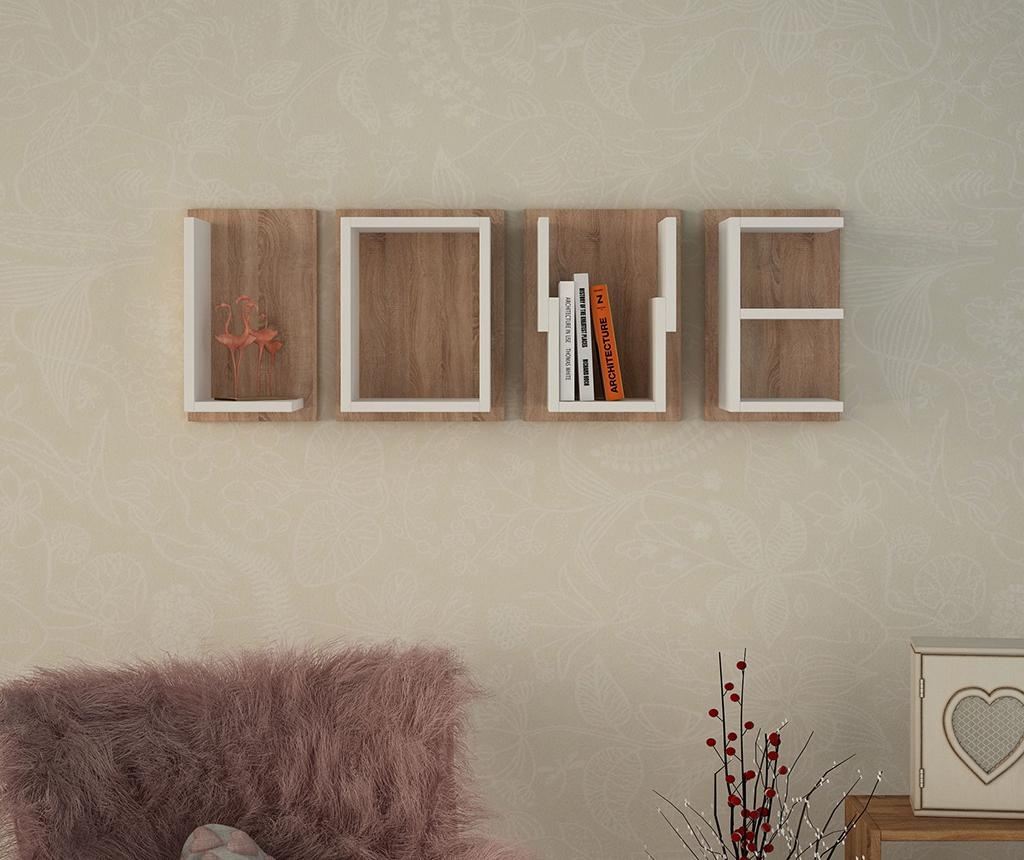 Set 4 stenskih polic Love White Dark Oak