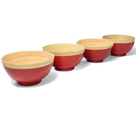 Сервиз 4 купи Bamboo Life Red 400 мл