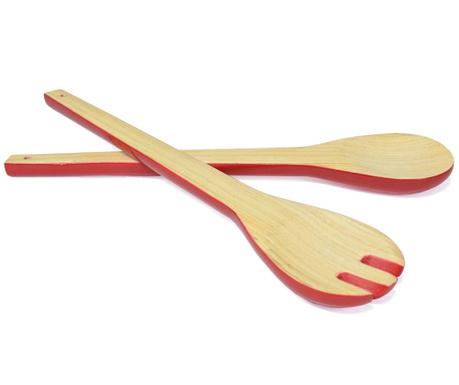 Комплект 2 прибора за салата Bamboo Life Red