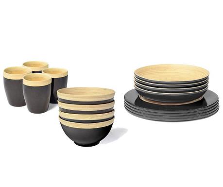 Сервиз за маса 16 части Bamboo Life Black