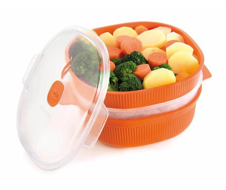 Airtight Orange Big 3 szintes Ételtároló gőzfőzéshez 4 L
