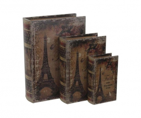 Set 3 cutii tip carte Eiffel