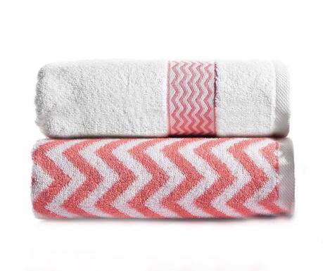 Zestaw 2 ręczników kąpielowych Lance Pink Orange 50x90 cm