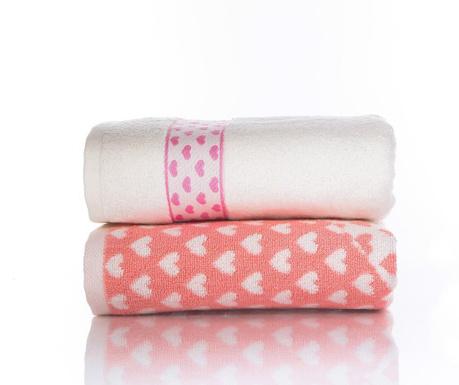 Zestaw 2 ręczników kąpielowych Goldy Pink Orange 50x90 cm