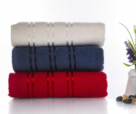 Zestaw 3 ręczników kąpielowych Becky Red and Blue 50x90 cm