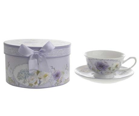Set - skodelica in krožniček Purple Poppy