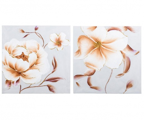 Set 2 tablouri Aubrey Flower 60x60 cm