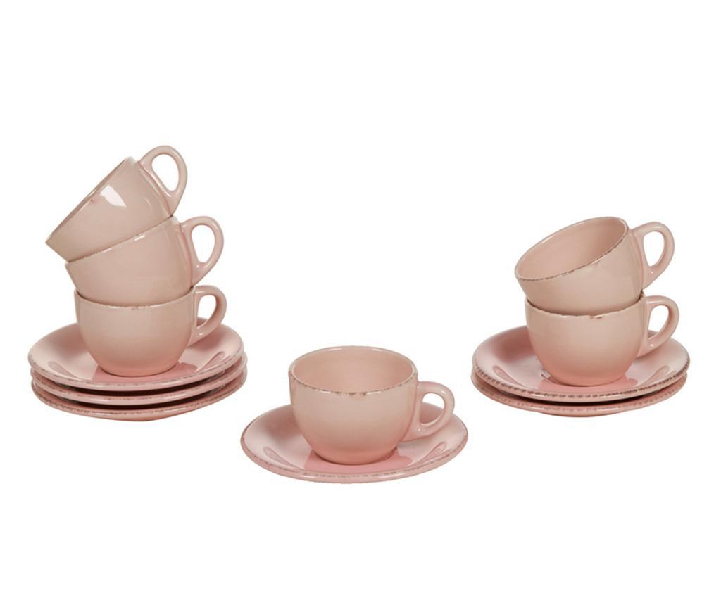 Set 6 skodelic in 6 krožničkov Amelie Pink