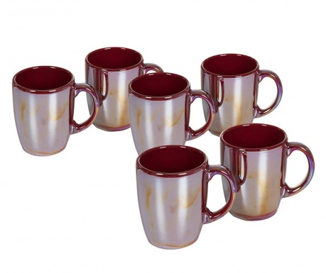 Set 6 skodelic Crockery Burgundy 350 ml