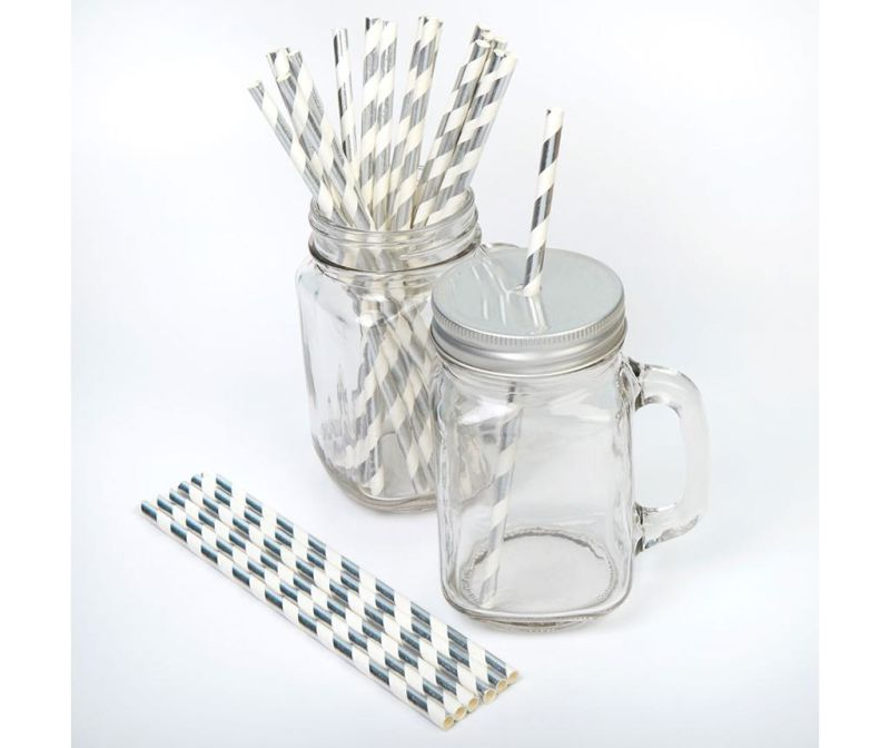 Set 25 slamki Stripes Silver