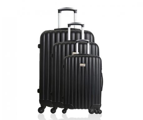 Sofia Black 3 db Gurulós  bőrönd