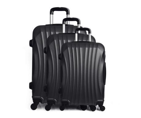 Moscou Black 3 db Gurulós  bőrönd