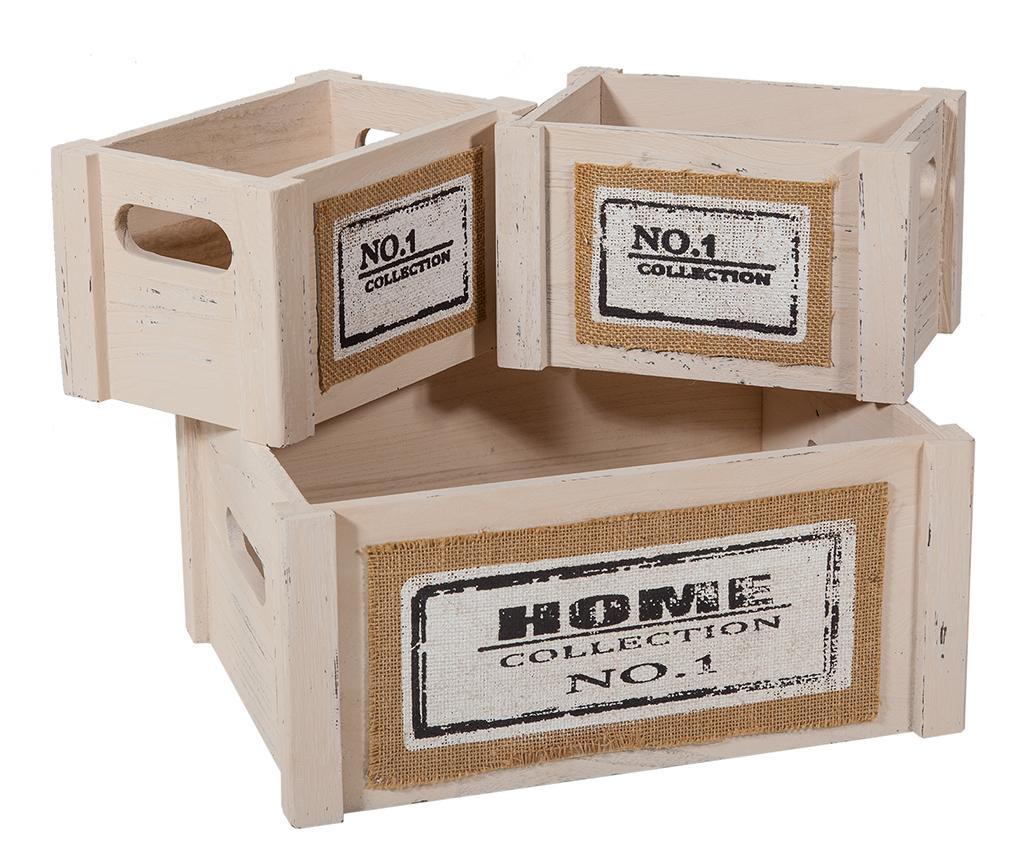 Set košara za rublje s poklopcem i 5 kutije za spremanje Home Beige