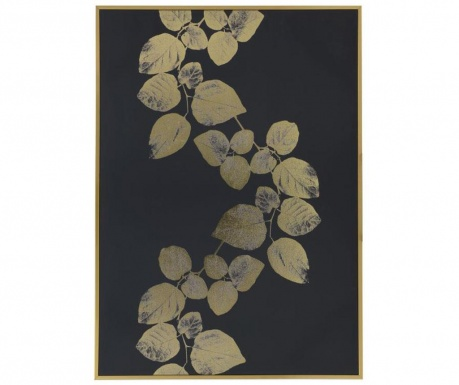 Tablou Golden Black Leaves 65x92.5 cm