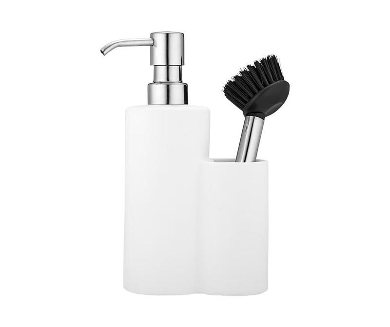 Set dispenser detergent lichid si perie de vase Classic White